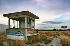 """Abandoned drive-in ticket booth Route 66 The last movie was """"The Long Long Trailer"""" with Rickey and Lucy in 1957 Old Buildings, Abandoned Buildings, Abandoned Places, Old Route 66, Historic Route 66, Twin Drive In, Drive In Movie Theater, Haunted Places, Ghost Towns"""