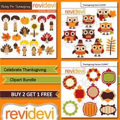 """""""Celebrate Thanksgiving Clipart Bundle"""" Thanksgiving Clipart Bundle includes 3 packs of digital images for your holiday needs!"""