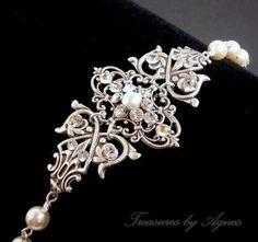 Bridal bracelet, cuff bracelet, wedding jewelry, vintage style bracelet, pearl bracelet with Swarovski crystal and Swarovski pearls. $50.00, via Etsy.