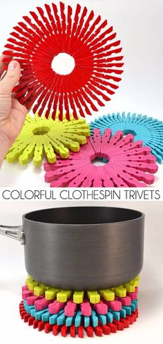 Colorful Clothespin Trivets, Crafts to Make and Sell. You can make lots of different type of things with cheap items and you can get started selling your crafts on Etsy or other stores.