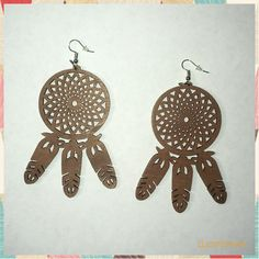 Dream Catcher Wooden Earrings