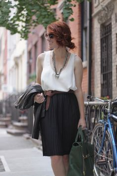 Cute top with pleated skirt with slim belt, love the look from hair to toe.