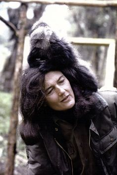 Dian Fossey,1932-1985, with Kima. American zoologist, She was a leading authority on mountain gorillas in Africa. She lost her life protecting something she loved...