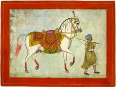 Album leaf. A horse with elaborate saddle and harness being led by a groom. On…