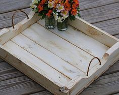 Large Serving Tray - Serving Platter - Center Piece - Cream - Shabby Chic - Hand Crafted - Reclaimed Pallet - Ready to Ship!