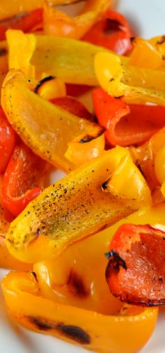 Simple Roasted Peppers. My familys favorite veggie side dish. Super easy to prepare and wonderfully sweet and delicious. Oh and NO peeling!