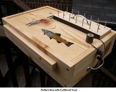 PORTABLE FLY TYING BOX desks benches tables YOU PICK PAINTED FISH fly fishing