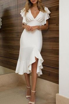 MACloth Short Sleeves with Ruffled Midi Cocktail Party Dress Ivory Wedding Party Dress - MACloth Short Sleeves with Ruffled Midi Cocktail Party Dress Ivory Wedding Party Dress Source by ruiiwang - Chiffon Dresses With Sleeves, Cocktail Dresses With Sleeves, Midi Cocktail Dress, Short Sleeves, Cocktail Attire, White Cocktail Dresses, Cocktail Party Dresses, Cocktail Wedding Dress, White Dress With Sleeves