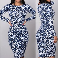 Wholesale Sexy Round Collar Long Sleeve Printed Bodycon Women's Dress Only $7.83 Drop Shipping   TrendsGal.com