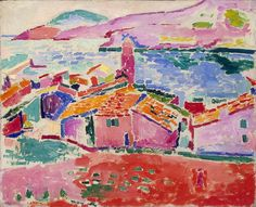 Telhados de Collioure - Pinturas de Matisse, Henri - (Fauvismo) Francês