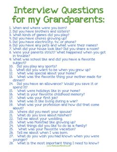 Grandparent Interview Questions | Do your children know the life stories of their grandparents? Let this printable and post encourage you to ask [the House of Hendrix}