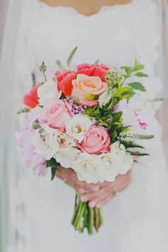 pink, orange and peach bouquet - Read more on One Fab Day: http://onefabday.com/jacquelyne-mae-photography-taylor-lucas/
