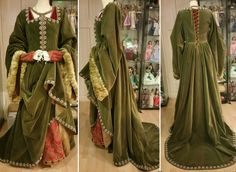 Historic costume, Joanna the Castill (ca. Made by Angela Mombers (Dutch costume designer) Green Costumes, Tudor Costumes, Medieval Costume, Medieval Dress, Renaissance Wedding, Renaissance Clothing, Renaissance Fashion, Historical Clothing, 16th Century Clothing