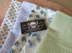 Kids Cloth Napkins School Lunch Box, Set of 5, Shades of Blue and Green, by CHOW with ME by CHOWwithMe on Etsy