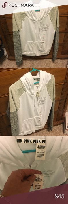 Pink hoodie Light /dark grey n white NWT size large PINK Victoria's Secret Tops Sweatshirts & Hoodies