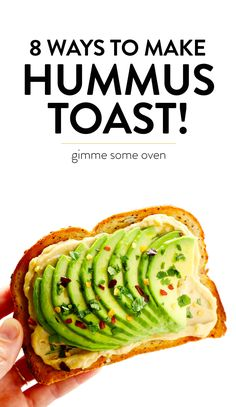 Hummus Toast is ridiculously delicious, super-easy to make, and fun to customize with different toppings. Here are 8 of our favorite hummus toast recipes! Easy Healthy Recipes, Veggie Recipes, Appetizer Recipes, Healthy Snacks, Easy Meals, Dinner Healthy, Healthy Eating, Simple Meals, Fun Recipes
