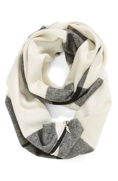 Plaid infinity scarf with the cutest lightning bolt zipper pull.