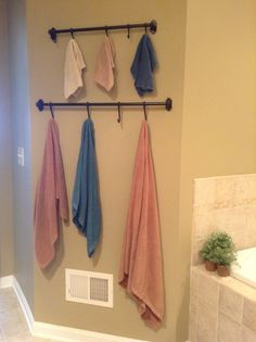 Nowex towels on IKEA hook system. I'd rather have this than the long towel bars! #norwex #justaddwater #spacesaver