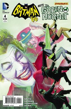 """The Alex Ross cover of """"Batman 66 Meets the Green Hornet"""" 4 is must-see TV, but buy it for the adventure (did someone say """"adventure"""": artist Ty Templeton) and read it for the comic thrills (did someone say """"comic thrills"""": writer Kevin Smith). Comic Art, Batman Art, Comic Heroes, Joker And Harley, Batman Comics, Dc Comics, Art, Im Batman"""