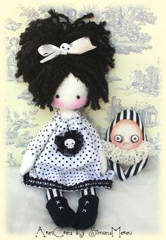 Susanna handmade black and white gothic cloth doll by AresCrea