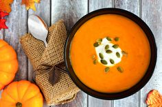 Pumpkin soup with seeds and cream, above scene on wood. Pumpkin soup topped with , Pumpkin Spice Creamer, Pumpkin Soup, Canned Pumpkin, Pumpkin Pie Spice, Pumpkin Puree, Pumpkin Recipes, Unsweetened Coconut Milk, Coconut Flour, Making Whipped Cream