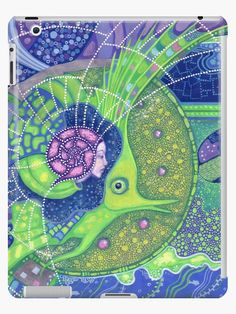 """""""Dream of the fullmoon"""" iPad Cases & Skins by clipsocallipso   Redbubble  """"Dream of the full moon"""" - surreal art, underwater fantasy in blue, green and purple colors.  Spirit of water merging with the gigantic  green fish in the surrealistic marine landscape with huge waves, full moon and starry sky. Acrylic painting on paper. © Clipso-Callipso / Julia Khoroshikh #psychedelic #art #surreal #underwater #aquatic #nautical #mermaid  #magical #fullmoon"""