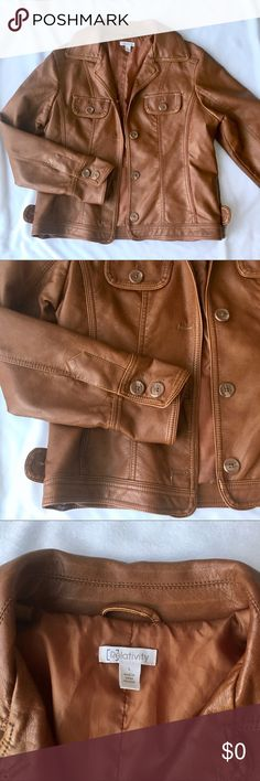 Relativity Brown Faux Leather Jacket Absolutely love this jacket!  EUC! Very little signs of wear. Fully lined. Very flattering fit. Comes to waist. Relativity Jackets & Coats