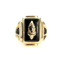 10k Gold Black Onyx School Class Ring by Dieges & Clust 1947 #vbantiquejewelry