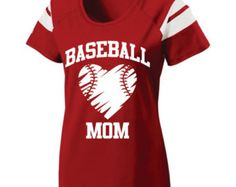 Short Sleeve Screen Printed Baseball Mom T-Shirt by A1Graphics