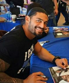That handsome smile Roman reigns has my favorite WWE champion just love this guy