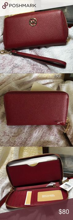 """Michael Kors Leather Smartphone Case Wristlet Large smartphone leather case wristlet Wallet  Color: Cherry 🍒  Gold tone hardware  8.5"""" W x 4.5"""" L x 1"""" D  Interior Detail:  One bill compartment , one coin pouch, five card holders , one ID slot Top zip fastening  Lining: 100% Polyester Michael Kors Accessories Phone Cases"""