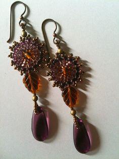 Amber & purple leaf and drop earrings by Jeka Lambert.  Seed bead woven.  Glass beads, seed beads.