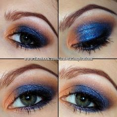 Warm bronze and royal blue eyeshadow colors create this vibrant eye makeup. See the products needed to create this night out look that will surely make your eyes pop.