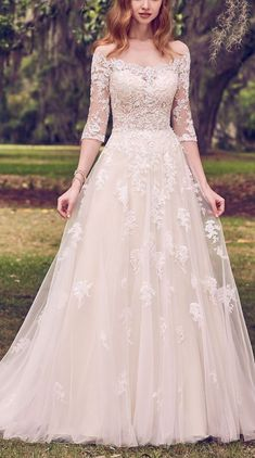 6 Best Wedding Dresses for a Rustic Wedding - Bree wedding dress by Maggie Sottero - Lace ballgown bridal dress with sleeves | Princess off the shoulder bridal gown | #weddingdress #weddingdresses #bridalgown #bridal #bridalgowns #weddinggown #bridetobe #weddings #bride #weddinginspiration #weddingideas #bridalcollection #bridaldress #fashion #dress See more gorgeous bridal gowns by clicking on the photo