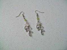 Bird & branch earrings $12  (customize bead color)