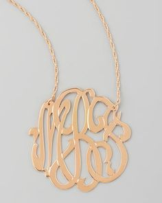 Rose Gold Initial Necklace by Jennifer Zeuner at Neiman Marcus.