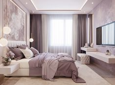 Soft, feminine and serene that's what these bedrooms are. Soft colors with pops of color in decor, add a blanket and a couple of pillows to make it all come together and you have your own feminine bedroom. Luxury Bedroom Design, Master Bedroom Design, Master Bedrooms, Purple Master Bedroom, Bedroom Designs, Cream And Pink Bedroom, Master Suite, Blush And Gold Bedroom, Mauve Bedroom