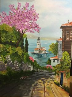 Tile Girl Tower – Halide Zehra – Join the world of pin Watercolor Landscape, Landscape Paintings, Watercolor Paintings, Watercolor Drawing, Turkish Art, Pour Painting, Anime Art Girl, Indian Art, Art Drawings