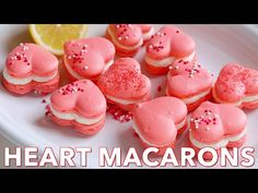 Heart Macarons are easier than you think! Heart-shaped macarons with tangy-sweet lemon buttercream. Includes a video tutorial + free printable heart template. French Macarons Recipe, Lemon Buttercream Frosting, Macaroon Recipes, Lemon Recipes, Savoury Cake, Clean Eating Snacks, Food Print, Cookie Recipes, Food Processor Recipes
