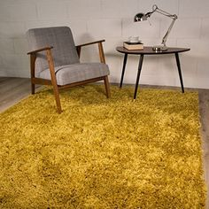 Ontario Yellow Ochre Soft Touch Easy Clean Living Room Shaggy Rugs 160cm X
