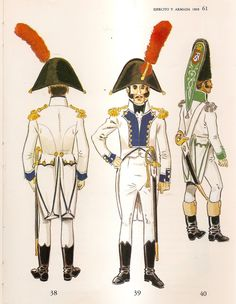 Spanish; Line Infantry, Officers, 1808. L to R Regt Malaga, Captain in Mounted Uniform(rear & front views) & Regt.Fijo de Cueta, Grenadier Captain