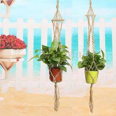 95/110CM Patio Plant Hanger Macrame Jute Rope Hanging Pots Basket Planter  Holder
