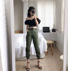 High waisted harem jeans in 2019 my style cuffed joggers, fa Korean Street Fashion, Korea Fashion, Kpop Fashion, Asian Fashion, Teen Fashion, Fashion Outfits, Fashion Trends, Sporty Fashion, Fashion Women