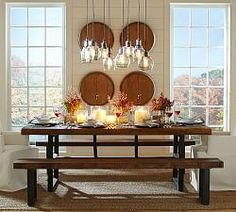 Griffin Reclaimed Wood Dining Table & Bench 3-Piece Dining Set