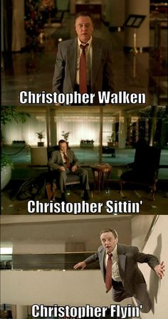 Funny pictures about Christopher Walken. Oh, and cool pics about Christopher Walken. Also, Christopher Walken photos. Celebrity Name Puns, Funny Celebrity Pics, 9gag Funny, Funny Memes, Hilarious, Puns Jokes, Silly Memes, Movie Memes, Funny Fails