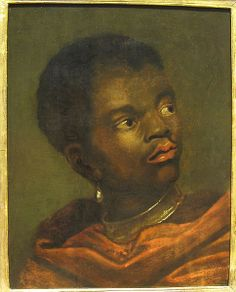 Dutch 17th century Black boy wearing a collar locked on enslaved workers, currently in a private collection