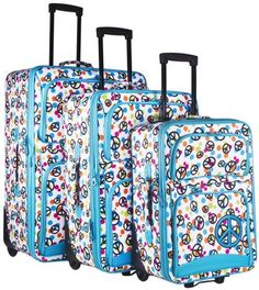 Luggage Sets Collections | Ever Moda Blue Peace Sign 3 Piece Expandable Luggage Set * Learn more by visiting the image link. Note:It is Affiliate Link to Amazon. #shoutoutback