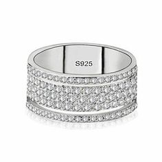 Buy Exquisite Bridal Wedding Jewelry 925 Sterling Silver White Sapphire Ring Princess Engagement Diamond Gift Size 5 - 10 at Wish - Shopping Made Fun Sapphire Wedding Rings, Wedding Ring Bands, 925 Silver, Silver Rings, Sterling Silver, Silver Jewelry, Diamond Jewelry, Jewelry King, Wooden Jewelry