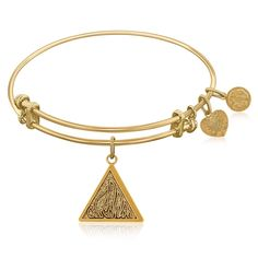 Expandable Bangle in Yellow Tone Brass with Fire Symbol