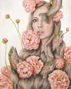 Heather Buchanan - Flop or Flower - Pop Surrealism Painting Peony and Rainbow Trout Flowers and Fish - Portrait Painting